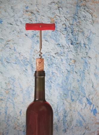 cork screw: wine bottle, cork and cork screw