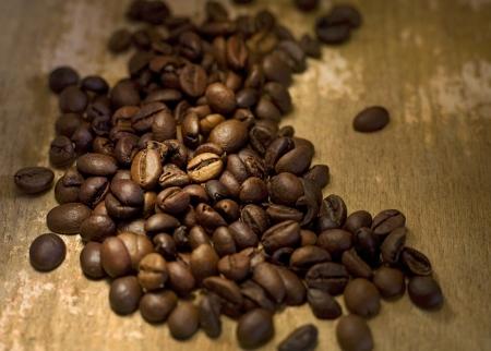 jamoke: coffee beans close up, narrow focus