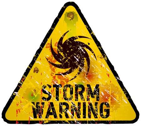 storm warning sign, heavy weathered, vector eps 10 Stock Vector - 23108798