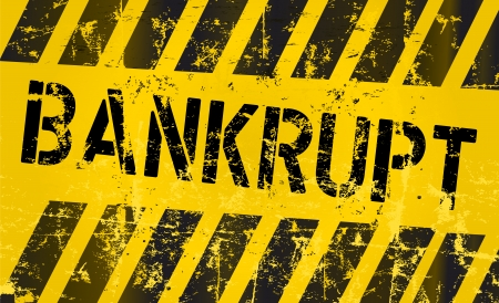 bankrupt sign, grungy style, vector eps 10 Ilustrace