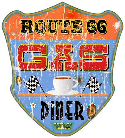 vintage gas station amd diner sign Vector