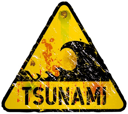 imperil: tsunami warning sign, heavy weathered, vector eps 10