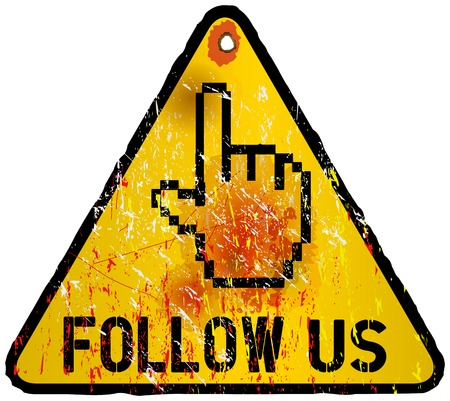 microblogging: grungy _ Follow Us _ social media sign, vector illustration Illustration