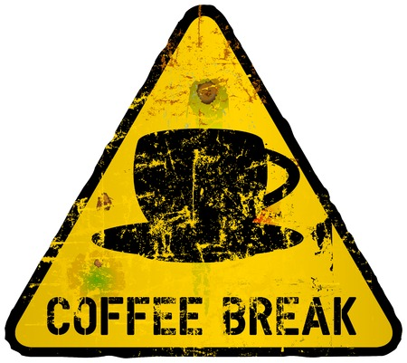 break in: coffee break sign, in the style of a road sign, vector Illustration