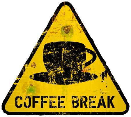 break in: signo pausa para el caf�, en el estilo de una se�al de tr�fico, vector