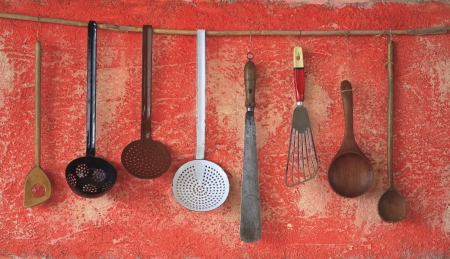 vintage kitchen utensils, cooking concept photo