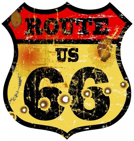vintage route 66 road sign, bullet holes, vector illustration