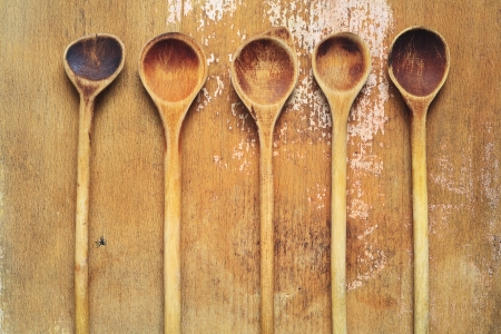 old items: vintage kitchen utensils, wooden spoons, cooking concept Stock Photo