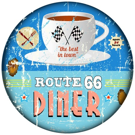 66: Route 66 vintage diner sign, retro style, vector eps