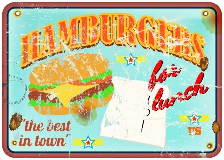 vintage hamburger enamel sign, vector, blank price tag Vector