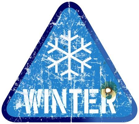 snow road: Snow warning sign, weathered Illustration