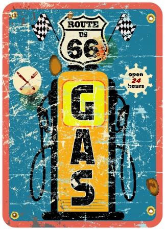 Route 66 signe de station d'essence, le style rétro Illustration
