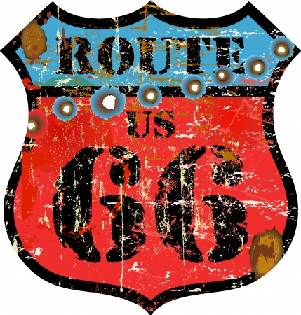 retro route 66 sign, w  bulletholes  removeable , vector Vector