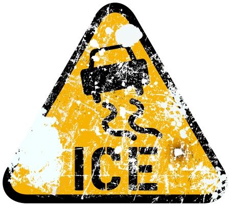 icy: ice warning traffic sign, vector illustration Illustration