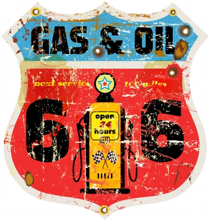 66: vintage route 66 road sign, retro style, vector illustration
