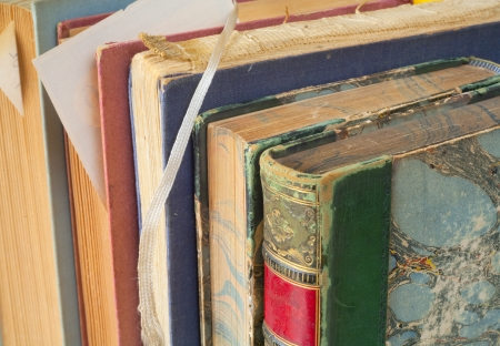 vintage books close up photo