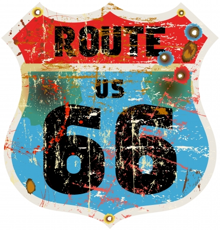 vintage route 66 road sign, retro style, vector illustration Zdjęcie Seryjne - 24023706