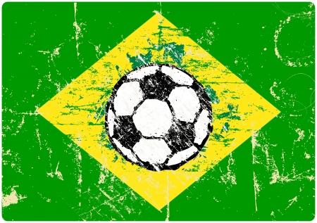 bal: grungy soccer sign, brazilian flag, vector eps 10