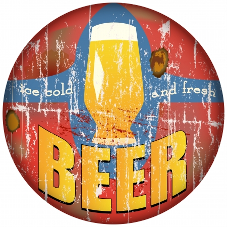imperfections: vintage, retro, beer metal sign, vector illustration