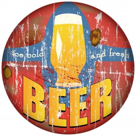 cerveza negra: vintage, retro, signo de metal de la cerveza, ilustraci�n vectorial