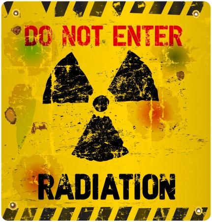residuos toxicos: De advertencia de radiación, ilustración vectorial Vectores