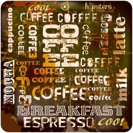 cappucino: retro koffie teken, wolk, vlekken, vector eps 10 Stock Illustratie