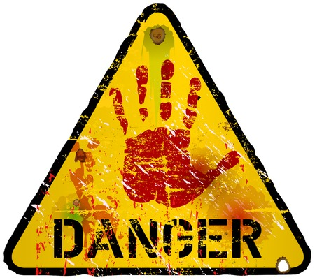 danger zone: danger sign, warning  prohibition sign, vector Illustration