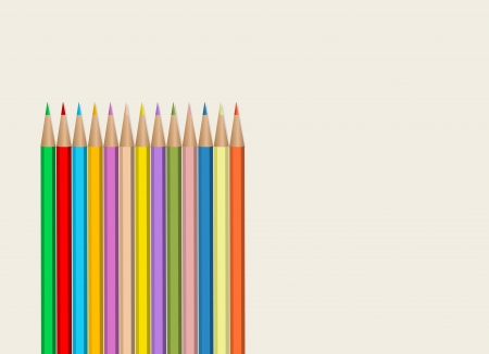 colored pencil on a sheet of drawing paper, free copy space Vector
