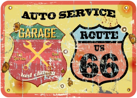 retro garage sign at the route 66, vector illustration