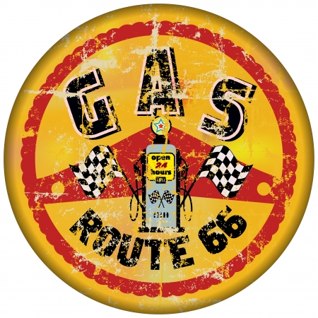 ルート 66 ガスステーション記号、レトロなスタイル
