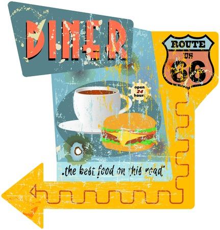 Retro route 66 diner teken, vector illustratie