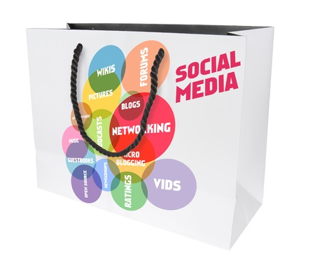 wikis: social media marketing and shopping concept,shopping bag