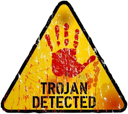 virus alert: trojan   computer virus alert sign, vector illustration Illustration