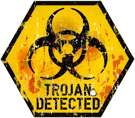 virus informatico: virus inform�tico troyano muestra de la alarma, ilustraci�n vectorial