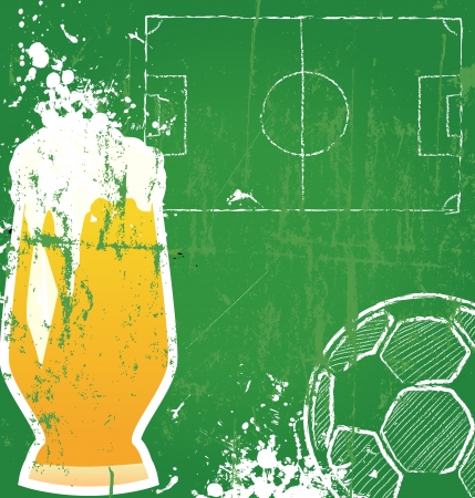 soccer field: Soccer   Football and beer,free copy space, vector  Illustration