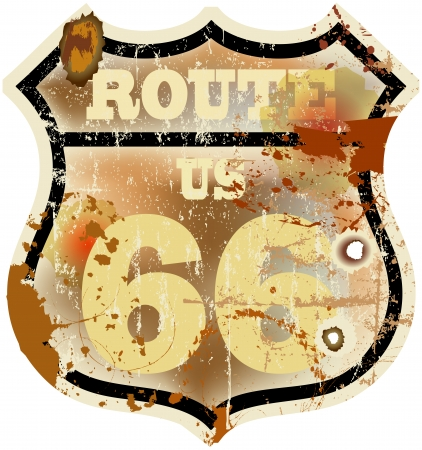 vintage route 66 road sign, retro style, vector illustration Vector