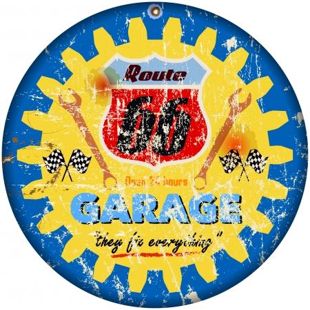 repair shop: route 66 garage sign,retro style