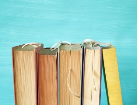 row of books with bookmarks, free copy space photo