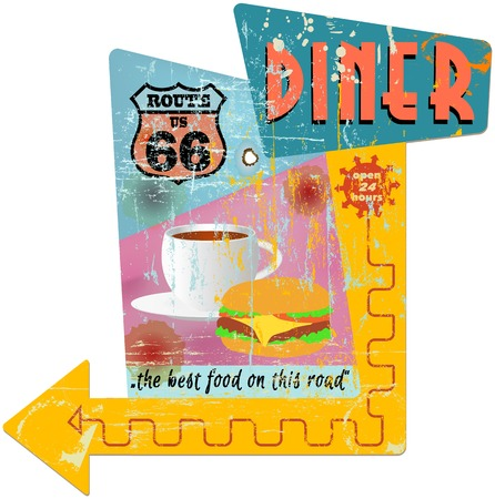 Retro route 66 diner sign, vector illustration Vector