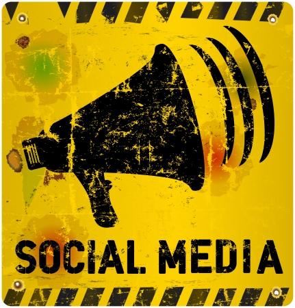 microblogging: social media sign illustration