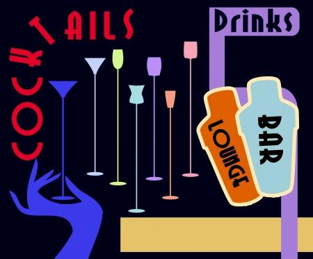 martinis: Cocktail menu card design, free copy space