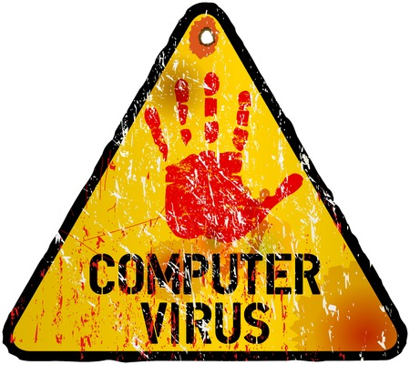 detected: computer virus alert sign illustration Illustration