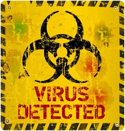 detected: computer virus warning sign Illustration