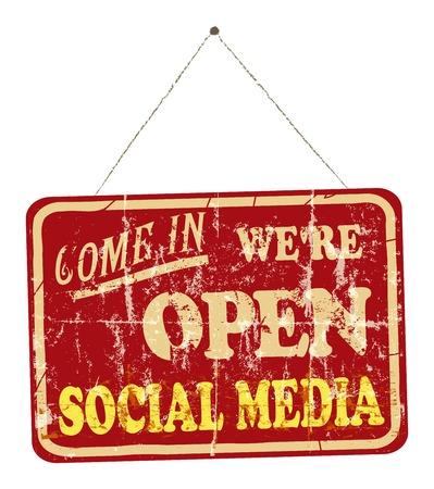 wikis: social media open sign, vintage sign