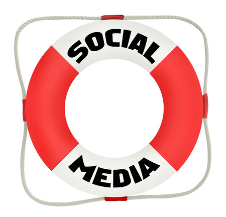 wikis: social media concept, life saver, isolated on white background Stock Photo