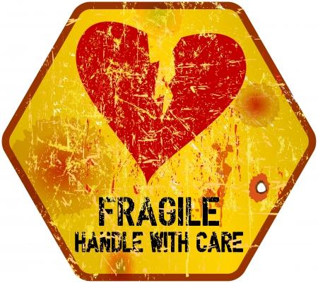 panneau d'avertissement de chagrin, le concept d'amour, illustration vectorielle