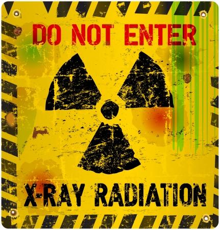De advertencia de radiación, ilustración vectorial