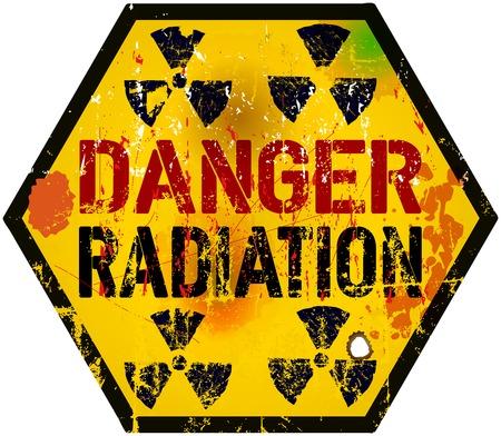 radiation warning sign, grungy style Illustration