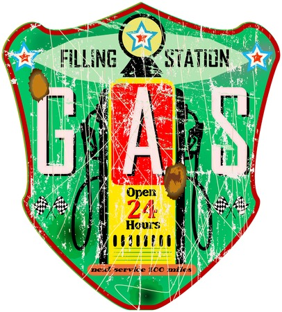 space station: gas station sign, vintage grungy style, vector illustration