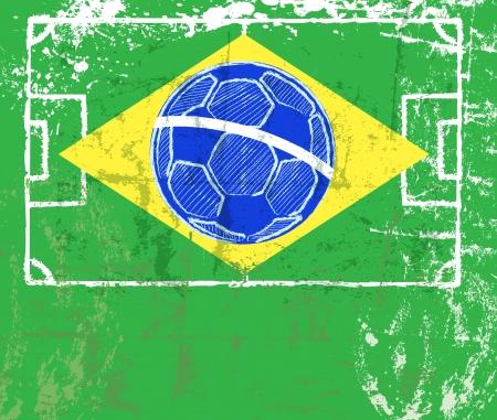 grungy soccer sign, brazilian flag, vector eps 10 Vector